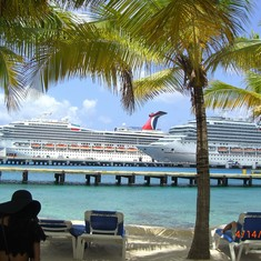 View of the ship in Cozumel.