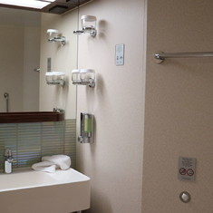 bathroom with double vanity.