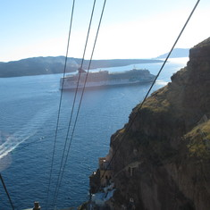 View of Jade from cable car in Santorini