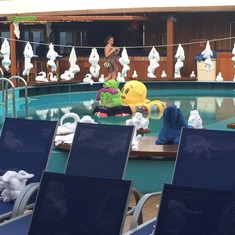 Lido Deck decorated with towel animals.