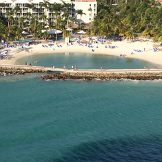 A beautiful beach in Arub from the deck of the Carnival Conquest.
