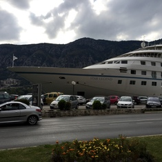 Ship docked in Kotor