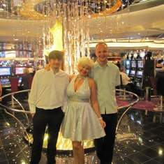 with my mom and brother  next to casino entrance