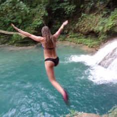 Falmouth, Jamaica - Cliff jumping at the Blue Hole, Jamaica.