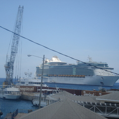 Liberty of the Seas from restaurant on Grand Cayman