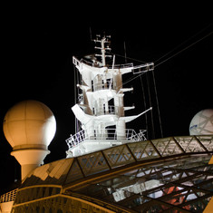 The ship's mast at night