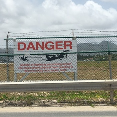 Sign at Maho Beach next to STX, St. Maarten