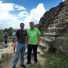 Belize City, Belize - At the top of Lamanai Ruins