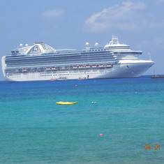 Grand Cayman with Ruby Princess in background