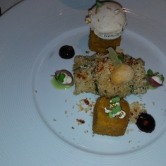 Sea Bass with Chorizo Crust, Fried Popcorn Pudding, Lemon Macaroon, Lobster Foam