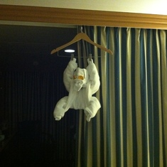Towel animal, day 2. Monkey?
