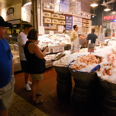 "Pikes Place Market ""Pure Seafood"" See the giant lobster tails!"
