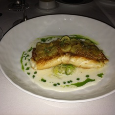 Red snapper with buttermilk, horseradish, and leeks; Ocean Blue