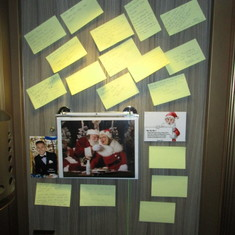 Our door with notes from some passengers