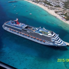Grand Turk Island - Our ship as we flew over it.