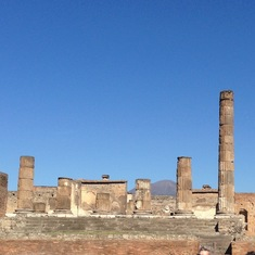 Pompeii with Vesuvius in the distance
