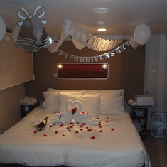 Our cabin was decorated for our Anniversary ($35.00 charge). Very nice!