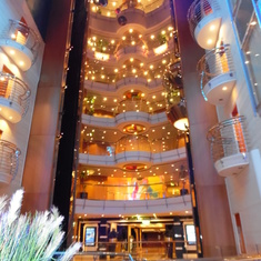 "Decks looking up from the ""Atrium"" centre of the ship..."