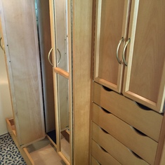 Close-up of show drawer and closets
