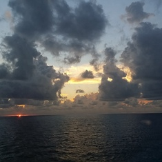 Sunset at sea on the cruise ship during dinner.