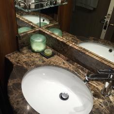 Marble bathroom, Bulgari bath products