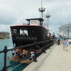"King's Wharf, Bermuda - ""Pirate Ship"" alongside Dockyard pier with Plank to jump off of"