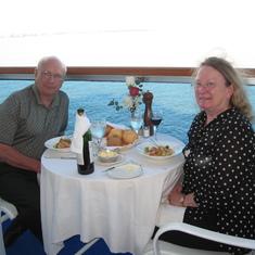 Dinner on balcony C-518 Antarctica cruise
