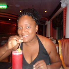 Castries, St. Lucia - Enjoying her fruit punch at dinner