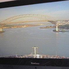 Bridge of the Americas from the TV in our cabin