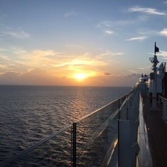 Sunset just off the coast of Port Canaveral