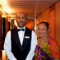 With cabin staff Babb