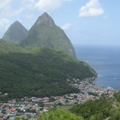 Castries, St. Lucia - The Pitons looming over Soufiere
