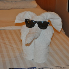 Funny towel figure made by the staff