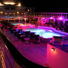 Pool deck and dance floor!