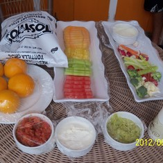 Food that was included in the cabana rental on Half Moon Cay.