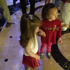 The kids join everyone on the dance floor