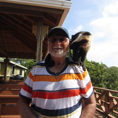 Zip line, Roatan, pet Monkey at entrance.