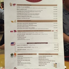 Eataly Steakhouse Menu