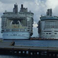Oasis of the Seas docked next to Navigator of the Seas in Cozumel.
