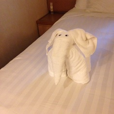 An elephant on the bed