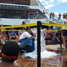 Ice sculpting Lido Deck