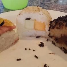 Chocolate and Fruit Sushi