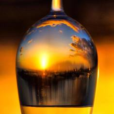 First night sunset in a glass