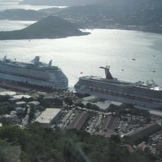 Nice shot of the two ships in port from St. Thomas