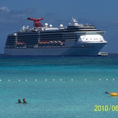 Half Moon Cay, Bahamas (Private Island) - Our ship docked at Half Moon Cay.