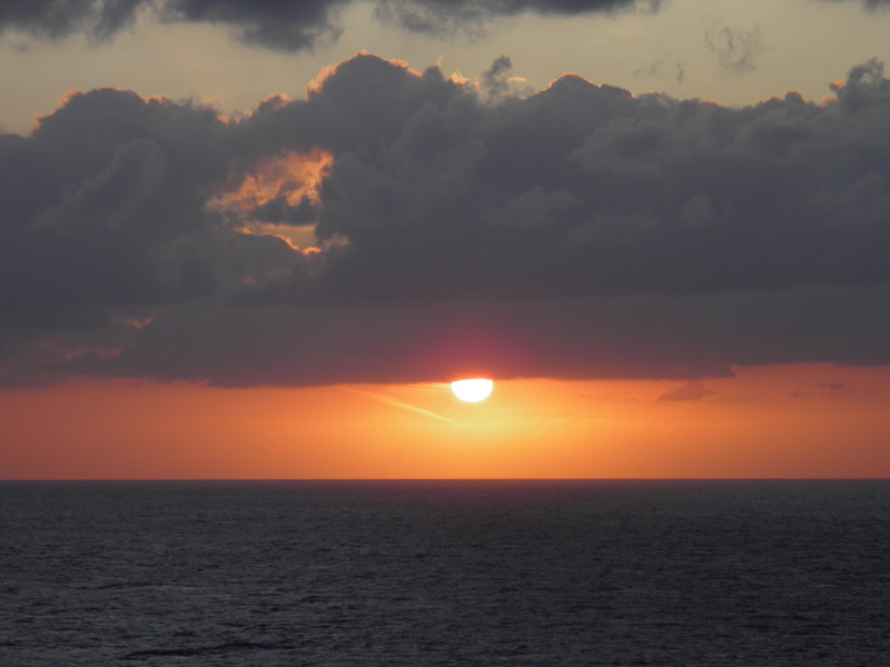 sunset photo from front deck of ship - Norwegian Sky