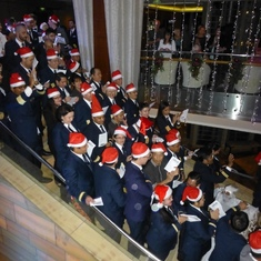 Officers singing Christmas Carols