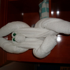 Monkey. There is a different animal every night made from towels left in the roo