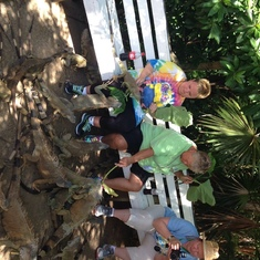 feeding the iguanas in Roatan on excursion