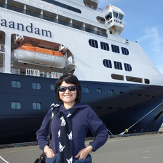 Victoria, British Columbia - Wife in front of Zaandam in Victoria, B.C.